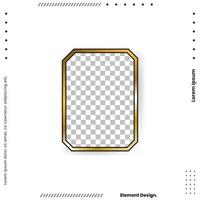 Square golden frame with shadow isolated vector