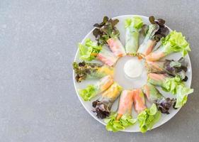 rollito de primavera de fideos de verduras frescas, comida dietética, comida limpia, ensalada foto