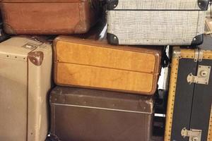 Vintage Suitcases Concept Travel Luggage Traveler photo