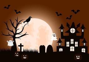 ilustración de la página de destino del fondo de la fiesta de la noche de halloween vector