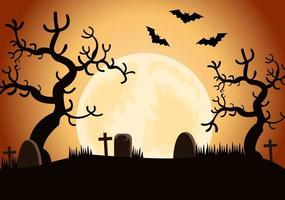 Halloween Night Party Background Landing Page Illustration vector