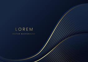 Abstract curve dark blue layer luxury background. vector
