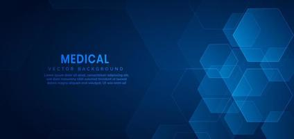 Abstract hexagon pattern on blue background. Medical and science vector