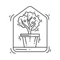 Gardening indoor icon. hand drawn icon, outline black vector