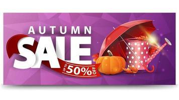 Autumn sale, horizontal discount web banner for your website vector