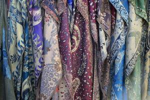 Colorful silk scarves photo