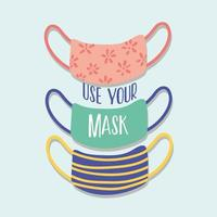 use your mask lettering campaign with set medical masks vector