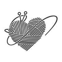 Yarn Heart Clipart ,Love Crochet concept design vector. vector