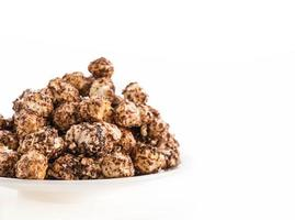 Chocolate covered popcorn photo