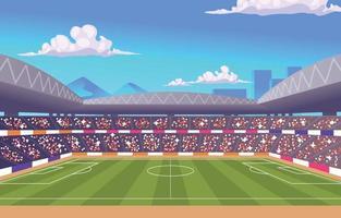 estadio de fútbol lleno de gente vector