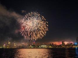Fireworks celebration of July 4th with the famous Manhattan skyline photo