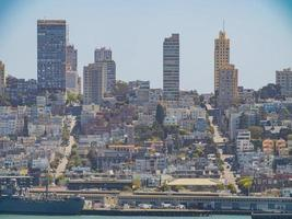 Sunny view of the San Francisco skyline from Alcatraz island photo