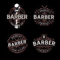 Bundle Barbershop logo design Vintage lettering illustration vector