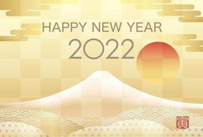 2022 New Years Card With Mt. Fuji Text translation - Tiger. vector