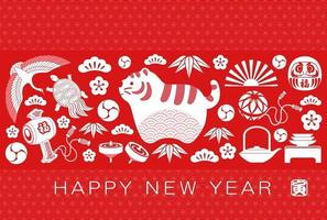Year Of The Tiger Greeting Card With Japanese Vintage Charms. vector
