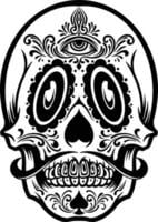 mexican skull face tattoo Mascot silhouette vector