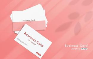 Modern white business cards mockup tamplate with pink background. vector