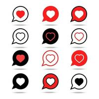 Set of Heart speech bubble icon isolated on white background. vector