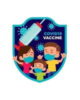 Family with face mask get vaccinated with coronavirus vaccine campaign vector