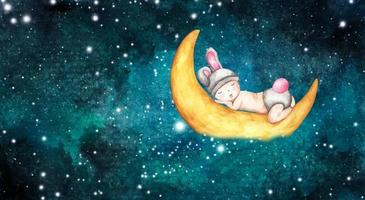Cute little baby sleeping on the moon. Watercolor illustration. vector