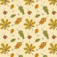 Vector autumn pattern with leaves and berries
