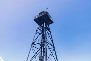 Sunny view of a guard tower of Alcatraz island photo