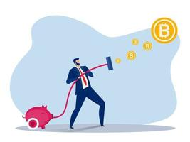 business man vacuuming money catch bitcoin investment concept . Vector