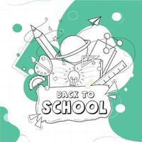 Illustration of Back to School in outline format. vector