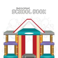 Poster of Back to School with set of books. vector