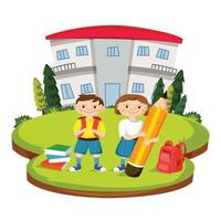 Illustration of Back to School with Students vector