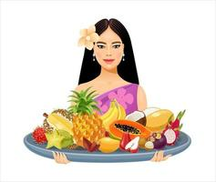 A beautiful Thai girl holds a large tray with Thai fruits in her hands vector