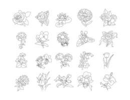 Flowers set, rose line drawing clip art set vector