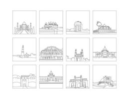 Historical Places Of India line drawing clip art set vector