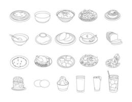 Food and beverages line drawing clip art set vector