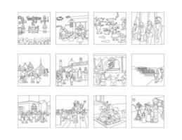 Our Festivals line drawing clip art set vector