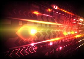 Perspective speed arrow and glowing computer data vector