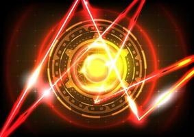Sphere, neon light and laser. Abstract gear HUD circle background vector