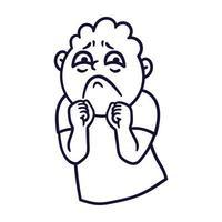 Man with sad emotions. Sorrow emoji avatar. vector