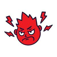 Round abstract face with angry emotion. Mad emoji avatar. vector