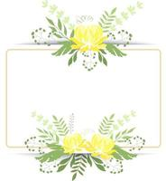 Vector illustration Square frame with yellow peonies and herbs