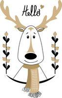 Vector illustration portrait of a deer in scandinavian style