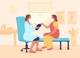 Physician appointment flat color vector illustration