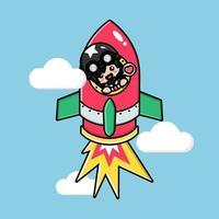 Cute tank man on a flying rocket vector