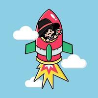 Cute mafia on a flying rocket vector