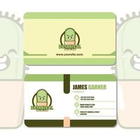 Business Card Design with Cute Cactus Character vector
