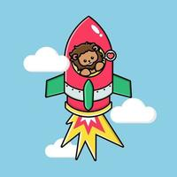 Cute lion on a flying rocket vector