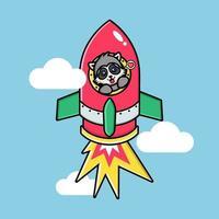 Cute raccoon on a flying rocket vector