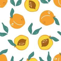 Seamless pattern of peaches with leaves. Modern illustration. vector