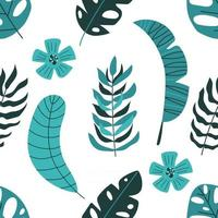 Seamless pattern of tropical leaves. Summer background. vector