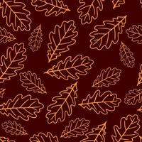 Seamless pattern with autumn oak leaves. vector